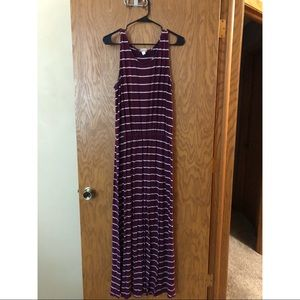 Maroon and white striped maxi dress